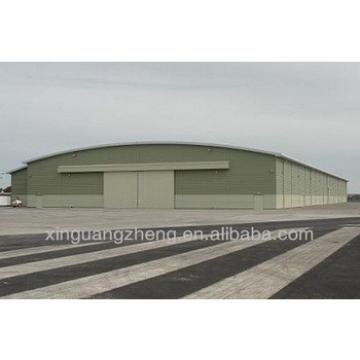 prefabricated steel structure aircraft hangar with metal frame