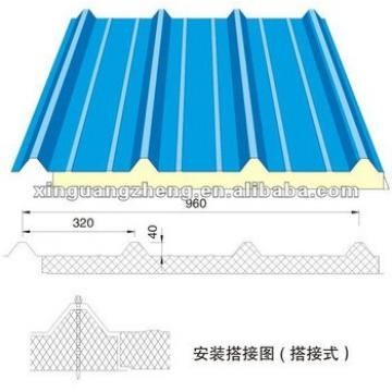 Blue V-950 Rock wool Sandwich Panel for roofing /warehouse /prefab house home/building project