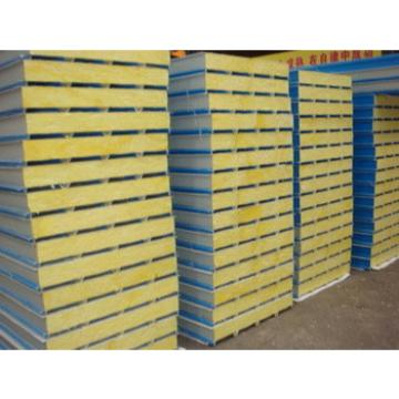 Galvanized Color metal glass wool sandwich panel for roofing and wall and warehouse