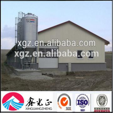 Economical prefabricated steel structure chicken houses and poultry farm with feeding system