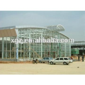 steel structural car showroom building with glass wall