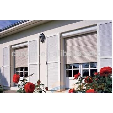Motorized insulation & security rolling shutter with PU foam filled 45mm & 50mm interlocking slat