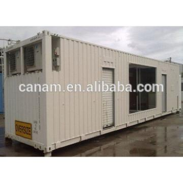 Steel structure anti storm 40ft shipping container house with pull down doors