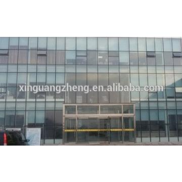 prefab steel structure office building with glass curtain wall