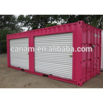 Prefab red container house with two pull down doors front