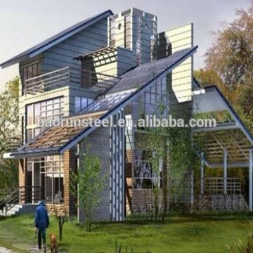 Low Cost Anti-seismic Modern Design Steel Structure Flat Roof Prefab Villa House