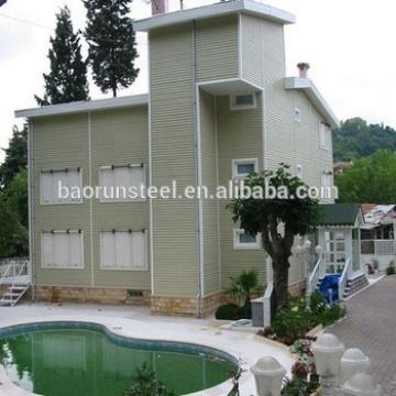 Luxury Modern Design Economic High Quality Steel Structure Flat Roof Prefab Villa Houses Made in China baorun