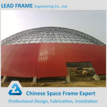 Outdoor steel roof space frame dome shed for coal storage