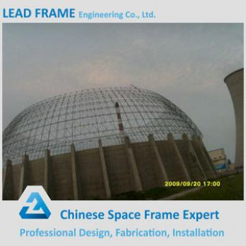 light type ball joint space frame prefab large geodesic dome for coal storage
