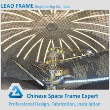 Economical space frame structure bulk storage for dome coal shed