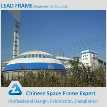 Prefabricated dome space frame for power plant coal shed