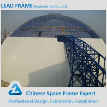 Attractive and durable steel space frame for limestone storage domes