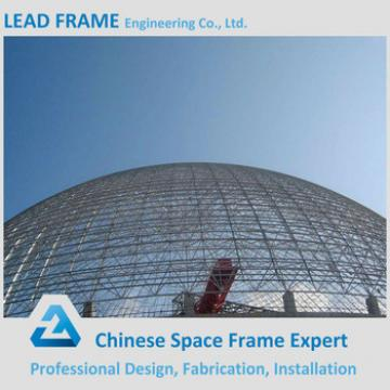 Economic anti-wind steel space frame for limestone storage domes