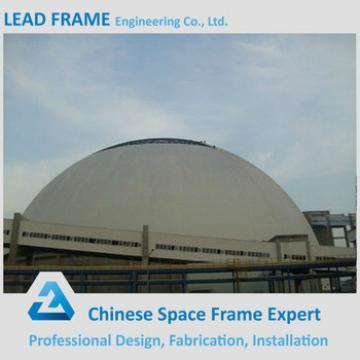 Light gray space frame dome coal mine coal storage yard
