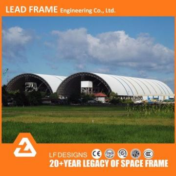 arched roof space frame prefab shed