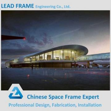 Arched space frame airport terminal with roof structure