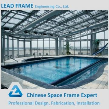 Arched swimming pool roof with metal structure