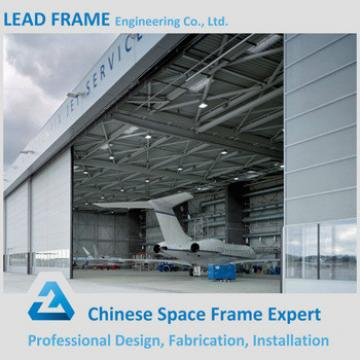 Galvanized steel space frame aircraft hangar with roof cover