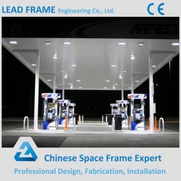 Light Selfweight Steel Space Frame Gas Station Canopy Metal Roof