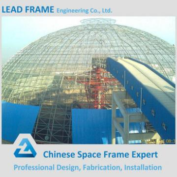 Long span steel dome space frame for coal shed