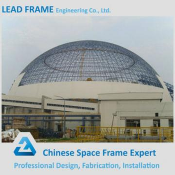 Easy installation prefabricated steel space frame dome shed