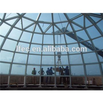 Prefab Long Span Light Guage Steel Space Frame Structural Glass Dome Cover