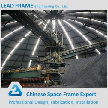 high standard design space frame steel storage shed for dome coal yard