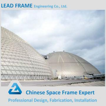 Low cost dome space frame for coal storage roof shed