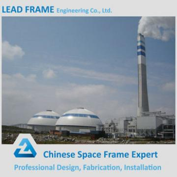 Steel space frame system coal storage shed