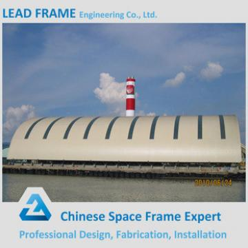 Space frame wind resistant canopy for coal power plant