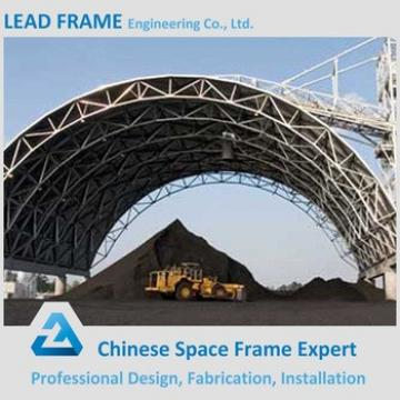 Steel roof covering space frame arched coal storage shed