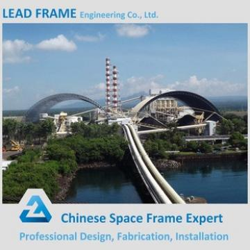 Long span steel frame system for power plant coal shed