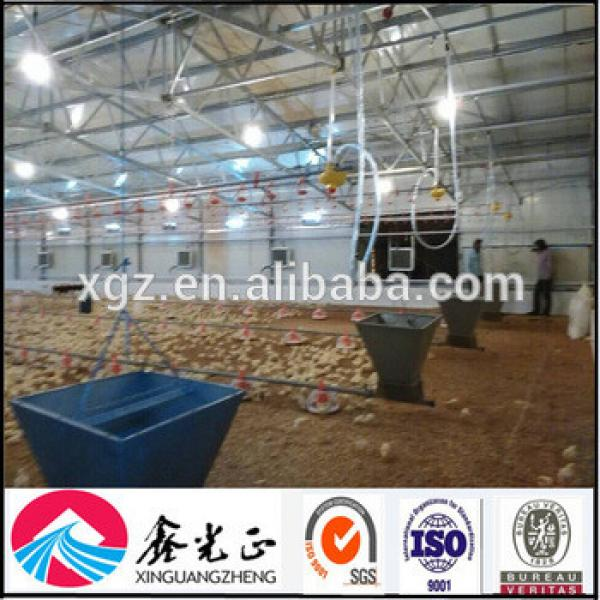 Low cost prefabricated steel structure chicken house and poultry house with feeding system #1 image