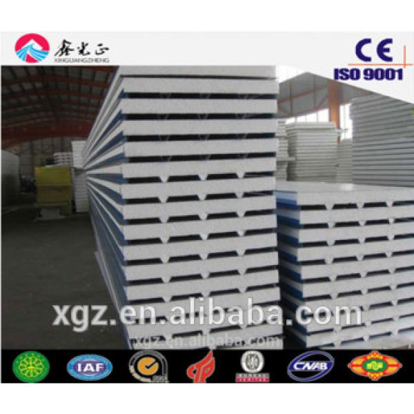 0.35mm-0.6mm PPGI both side 50/75/100mm EPS sandwich used for steel structure roof and wall made by XGZ #1 image