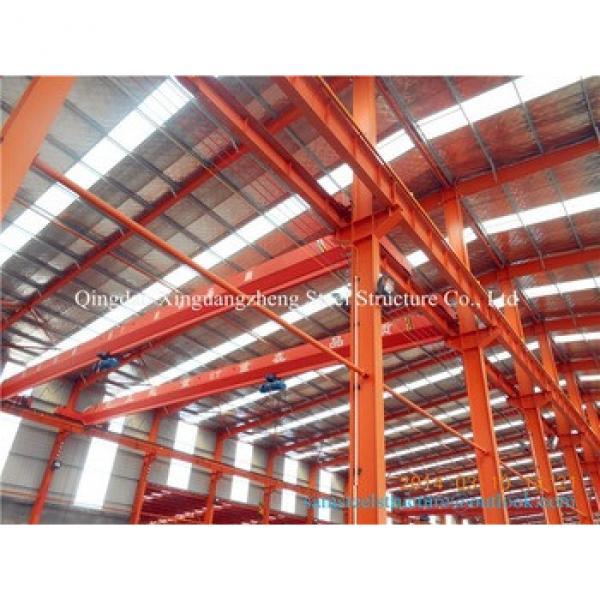 Prefab steel warehouse metal framework materials with crane #1 image