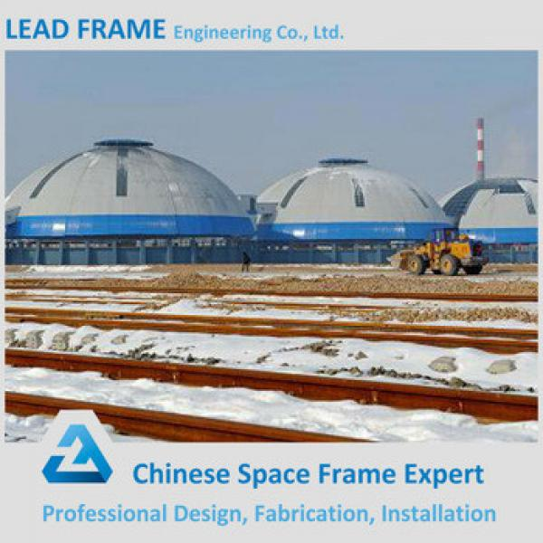 Lightweight steel space frame dome coal storage with roof cover #1 image
